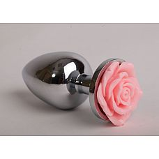 Серебристая анальная пробка со светло-розовой розочкой - 8 см.  Металлическая пробка с ограничительным основанием для безопасного использования.