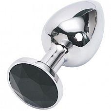 """Анальная пробка серебро со вставкой черный страз S 47022-MM  """"Анальная пробка изготовлена из медицинской стали с позолотой."""