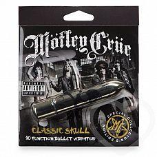 Золотистая вибропуля Motley Crue Classic Scull   Яркий и стильный вибратор из специальной серии, посвященной культовой глэм-рок группе Motley Crue, известной помимо своего музыкального творчества эпатажными выходками и бесконечными авантюрами с женщинами.