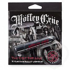 Серебристая вибропуля Motley Crue Too Fast for Love   Яркий и стильный вибратор из специальной серии, посвященной культовой глэм-рок группе Motley Crue, известной помимо своего музыкального творчества эпатажными выходками и бесконечными авантюрами с женщинами.