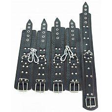 Набор кожаных фиксаторов  Набор фиксаторов для БДСМ-игр из натуральной кожи.