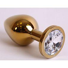 Большая золотистая анальная пробка с прозрачным кристаллом - 9,5 см.  Металлическая анальная пробка, основание которой декорировано блестящим кристаллом.