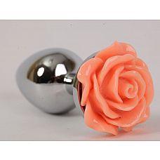 Серебристая анальная пробка с оранжевой розой - 7,6 см.  Металлическая пробка с ограничительным основанием для безопасного использования.