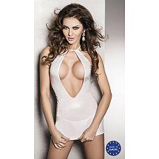 Страстное белое платье с глубоким декольте и открытой спиной Femi - Passion, L/XL, Белый  Сексуальное белое облегающее платье с бретелью петлей.