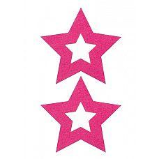 Пестисы-звёздочки, обрамляющие соски, Фиолетовый  Силиконовые наклейки на грудь, оставляющие открытыми соски.
