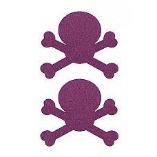 """Пестисы """"Черепушки"""", Фиолетовый   Дерзкие наклейки-пестисы на соски в виде черепушек с косточками."""