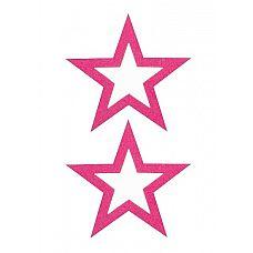 """Пестисы открытые """"Звёздочки"""", Фиолетовый  Яркие наклейки-звездочки сексапильно обрамляющие и подчеркивающие соски."""