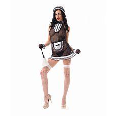 """Костюм Сексуальной прислуги (M/L)  02907ML  """"Костюм состоит из:  головной убор  передник  платье  перчатки  чулки в сетку   ! Внимание, щетка приобретается отдельно"""""""