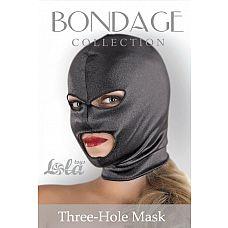 Чёрная маска-шлем Three-Hole Mask с вырезами для глаз и рта  Чёрная маска-шлем Three-Hole Mask с вырезами для глаз и рта.