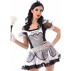 Костюм Старательной домработницы, S/M,   Костюм состоит из:   головной убор платье перчатки чулки в сетку   Внимание! Щетка в набор не входит.