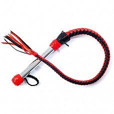 Кожаная плеть   Однохвостая плеть имеет хромированную ручку диаметром25мм и плетеное из мягкой кожи тело с сердечником из силикона.