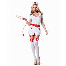 """Костюм """"Похотливая медсестра"""" - Le Frivole, L/XL, Белый с красным  Ультракороткий белый халатик с подвязками для чулок, лаковый алый пояс – раскованный и слегка похотливый образ создает данный костюм медсестры."""