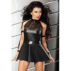 Маленькое черное платье Sensuality dress - Lolitta, S/M, Черный  Дерзкое мини-платье из эластичной черной ткани с мокрым блеском.