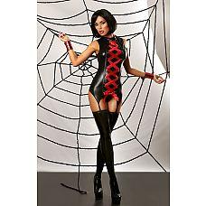 Корсаж с эффектом мокрого блеска Mansion of Love set - Lolitta, S/M, Черный с красным  Интригующий черный корсет из эластичной, блестящей ткани, имитирующей кожу.