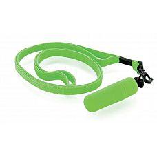 Набор из 10 зелёных вибропулек Funny Five на шнурке  Идеальный спутник в поездках и походах! Вибропуля на ремешке - это удовольствие, которое всегда при себе.