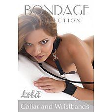 Ошейник с наручниками Bondage Collection Collar and Wristbands , Черный  Черный ошейник из 100% полиэстра с поводком.
