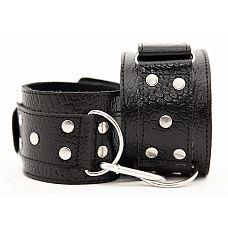 Наручи из натуральной кожи - BDSM Арсенал, Черный с красно-коричневым  Кожаные наручники черного цвета.