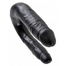 Чёрный двусторонний фаллоимитатор U-Shaped Small Double Trouble - 33,5 см.  Этот двухголовый фаллоимитатор, напоминающий по форме подкову, - настоящая находка для пар.