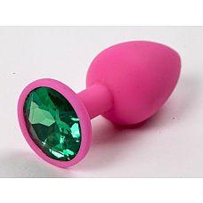 Розовая анальная пробка с зеленым кристаллом - 9,5 см.  Розовая анальная пробка с красным кристаллом.