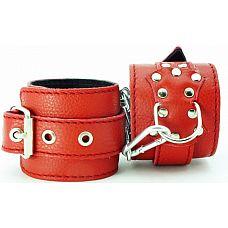 Оковы из кожи - БДСМ Арсенал, Красный  Оковы из красной кожи можно использовать для рук или ног.