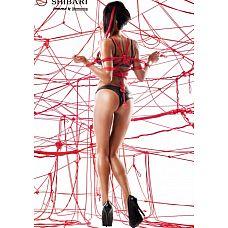 Комплект из матовой кожи Asami  с веревками для связывания (Shibari), S  В комплект входит:   бюстгальтер трусики веревки для связывания   Комплект Asami привлекает своим интересным и кокетливым внешним видом.