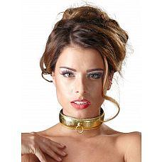 Золотистый ошейник с кольцом для крепления  Золотистый ошейник - не только аксессуар для любовной игры, но и изысканное украшение.