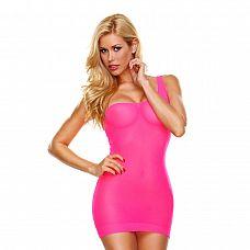 Облегающее розовое мини-платье с бретелью на одно плечо  Розовое облегающее мини-платье на одной бретели средней ширины.