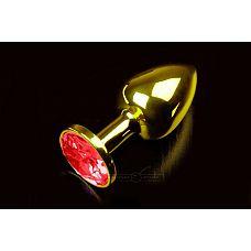 Маленькая золотистая анальная пробка с круглым кончиком и красным кристаллом - 7 см.  Абсолютно безопасная анальная пробка с закругленным кончиком и прекрасным анатомическим дизайном.