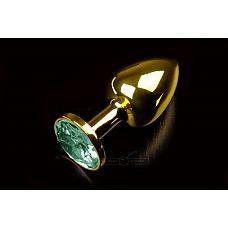 Маленькая золотистая анальная пробка с круглым кончиком и изумрудным кристаллом - 7 см.  Абсолютно безопасная анальная пробка с закругленным кончиком и прекрасным анатомическим дизайном.