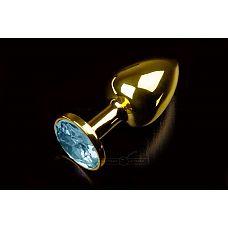 Маленькая золотистая анальная пробка с круглым кончиком и голубым кристаллом - 7 см.  Абсолютно безопасная анальная пробка с закругленным кончиком и прекрасным анатомическим дизайном.