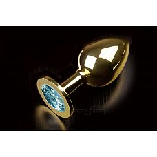 Большая золотая анальная пробка с закругленным кончиком и голубым кристаллом - 9 см..  Очень комфортная анальная пробка с идеальным анатомическим дизайном! Благодаря закругленному кончику эта пробка не только легко входит даже в самые тугие местечки, но и максимально комфортно размещается внутри.