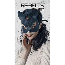 """Маска Kitty Black 7718rebelts  """"Черная маска кошечки  из кожи."""