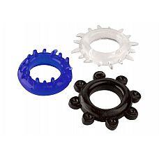 Набор из 3 разноцветных эрекционных колец  Эрекционные силиконовые кольца A-Toys для усиления эрекции и продления полового акта.