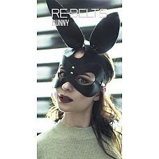 Маска с заячьими ушами Bunny Black  Черная маска кролика из кожи.