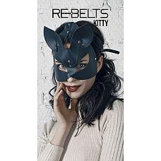 Маска с кошачьими ушками Kitty Black   Черная маска кошечки  из кожи.