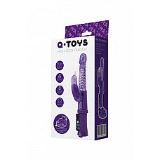 Фиолетовый вибратор с клиторальным стимулятором и крепкой присоской в основании  Вибратор A-Toys с функцией вращения ствола и мощным клиторальным стимулятором.