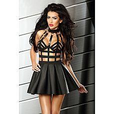 Сексуальное мини-платье Excellent dress - Lolitta, L/XL, Черный  Оригинальное эротическое платье, очень соблазнительный фасон!  Игривая пышная коротенькая юбочка выполнена из эластичного материала с эффектом мокрого блеска.