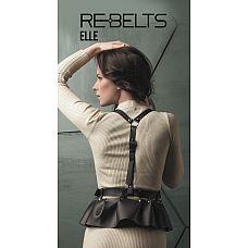 Изящная портупея Elle Black - Rebelts, One Size, Черный  Стильная кожаная портупея с оборками станет отличным аксессуаром для Вас.