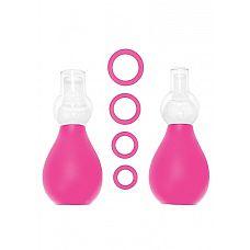 Набор для стимуляции груди розовый SH-OU056PNK, Белый  Вакуумный стимулятор для сосков.
