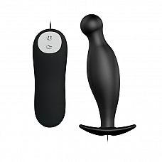 Чёрный анальный вибромассажер с пультом управления - 11,7 см.  Анальная пробка, изготовленная из силикона.