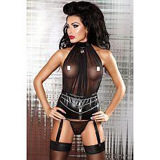 Сексуальный комплект с широким поясом под змеиную кожу Lovable Set - Lolitta, S/M, Черный  Невероятно эротичный комплект белья, состоящийиз стрингов,классического прозрачного верха и широкого грубого пояса.