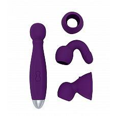 Вибратор с насадками для двоих Bowling - RestArt, 19 см., Фиолетовый  Вибромассажер «Bowling» с тремя съемными насадками прекрасно подойдет для любых частей тела.