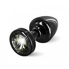 Чёрная пробка с чёрным кристаллом ANNI round black T1 Black Diamond - 6 см.  Предназначена для улучшения анальной стимуляции и усиления оргазмов.