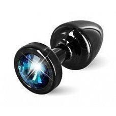Чёрная пробка с голубым кристаллом ANNI round black T1 Blue - 6 см.  Предназначена для улучшения анальной стимуляции и усиления оргазмов.