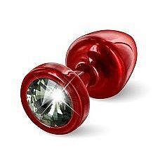 Красная анальная пробка с чёрным кристаллом ANNI round Red T1 Black Diamond - 6 см.  Предназначена для улучшения анальной стимуляции и усиления оргазмов.