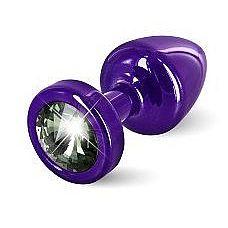 Фиолетовая пробка с черным кристаллом ANNI round Purple T1 Black Diamond - 6 см.  Предназначена для улучшения анальной стимуляции и усиления оргазмов.