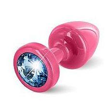Розовая пробка с голубым кристаллом ANNI round Pink T1 Blue - 6 см.  Предназначена для улучшения анальной стимуляции и усиления оргазмов.