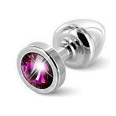 Серебристая пробка с малиновым кристаллом ANNI round Silver T1 Fuschia - 6 см.  Предназначена для улучшения анальной стимуляции и усиления оргазмов.