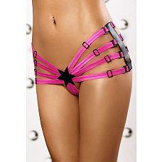 Яркие трусики со звёздочкой Star Panty shorts   Эротические трусики выполнены из ярких розовых эластичных ремешков.