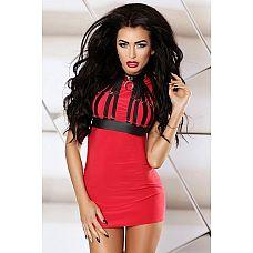 Платье с портупеей Masterpiece dress  Эффектное мини-платье в сексуальном красном цвете с красиво выделенным бюстом.